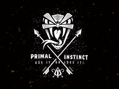Primal Instinct_snake head_drib illustration fishing arrow bw survivalist outdoors design mikebruner instincts primal survival hunting snake