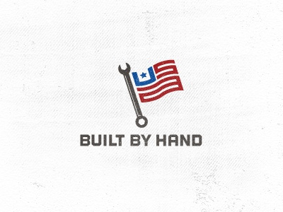 Built By Hand made in usa handmade tools flag star craftsmanship logo icon graphic design wrench