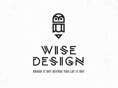 Wise Design owl pencil design icon logo graphic illustration bw