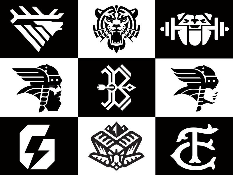 2019 top 9_drib ram barbell weightlifting bulldog g gatorade arrow b viking elk tiger icon mikebruner design logo