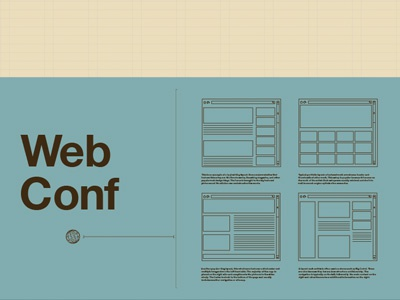 Web Conf web conf conference brochure pamphlet space future diagram wireframe information architecture green brown