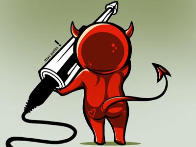 When the devil comes Rockin devil plug cute cellshade ilias satan red illustration