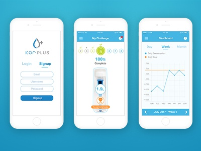 Hydration Tracker App clean ui ux ios blue water tracker tracking hydration