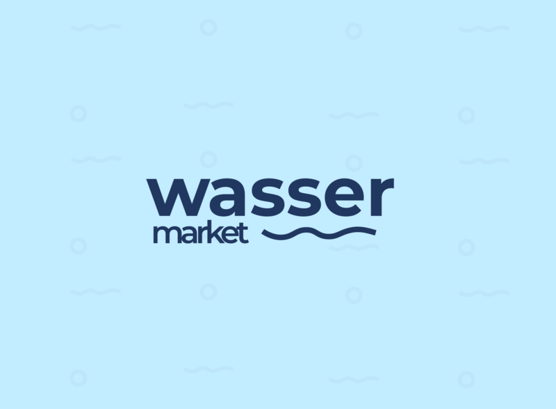Wasser Market Logo water flow flow dribbbleweeklywarmup clean ui illustration branding design minimalist groceries logotype market water grocery store groceryshop grocery logos logo design logo