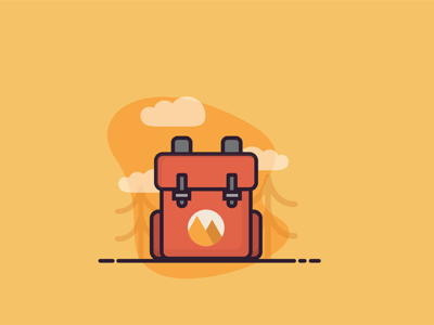 Travel backpack illustration icon red nature wild trees cloud backpack travel