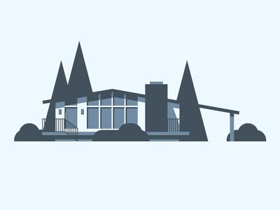 Mid-century home monochromatic monochrome vectorart vector art drawing inspiration design geometric midcentury mid-century modern mid-century architecture blue illustration