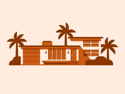 Mid-century home Pt. II illustrator graphic  design architecture vector design monochrome orange simple illustration