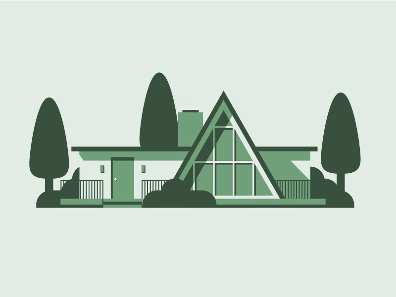 Mid-century home Pt. III geometric simple green monochrome mid century architecture illustration