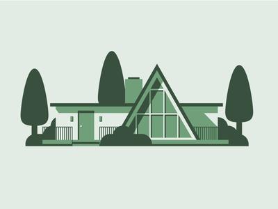 Mid-century home Pt. III geometric simple green monochrome mid century architecture illustration