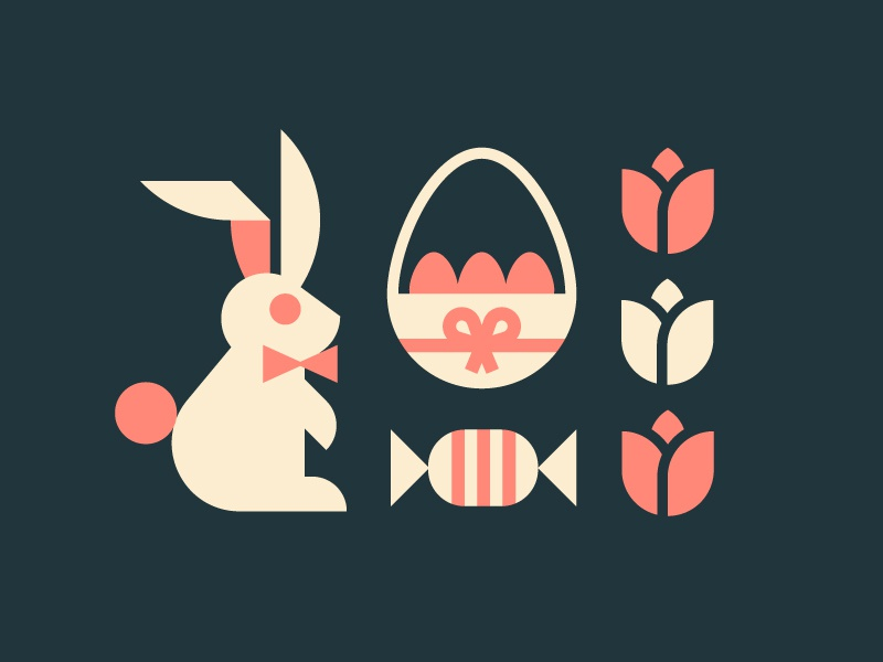 Easter geometric simple tulip tulips icon icons illustration rabbit easter bunny easter