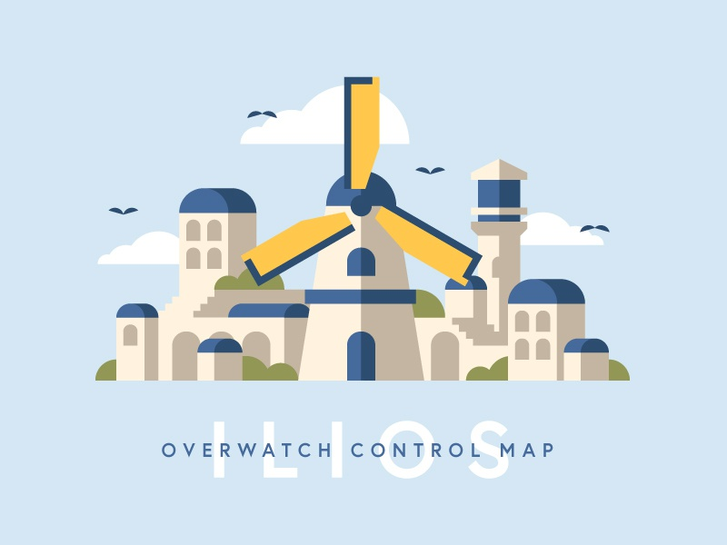 Overwatch: Ilios map windmill videogames games fan art fanart geometric simple flat  design flat illustration overwatch gaming