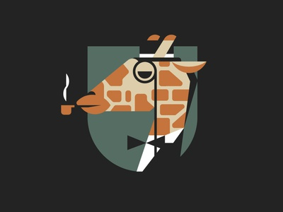 Sir Giraffe geometric vector giraffe flat design illustration flat badges badge