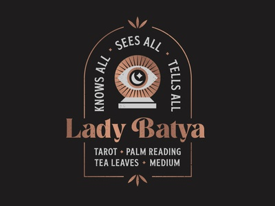 Lady Batya typography retro vintage badge design branding crystalball rosegold foil psychic lockup badge