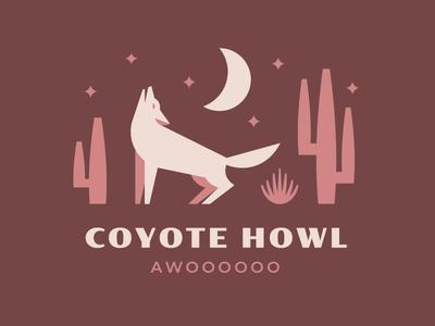 AWOOOOOOOOOOOOOO!!! logos logo branding night dog lockup vintage retro simple geometric desert cactus wolf coyote illustration