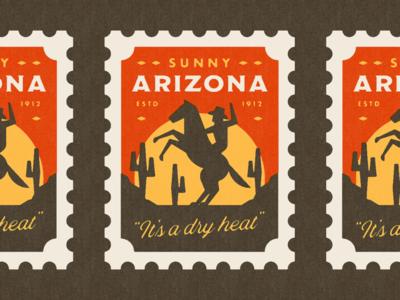 Sunny Arizona Stamp geometric print vector illustrator illustration southwestern southwest hot sun silhouette post stamp retro texture simple sunset horse cowboy arizona desert