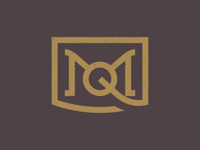 MQ Monogram thicklines badge distressed purple yellow typography type grunge vintage logo mq q m monogram