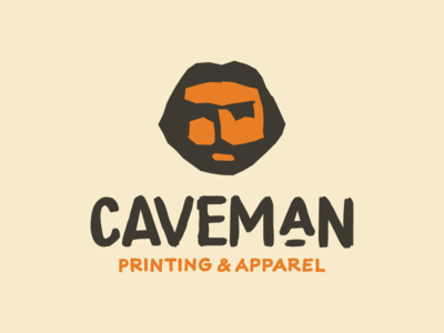 Caveman branding design branding simple flat lockup rough orange caveman identity branding identity logo