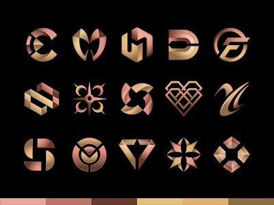 Logo collection metallic version msd luxury metallic golden bronze brand collection symbolmark logo minimal identity