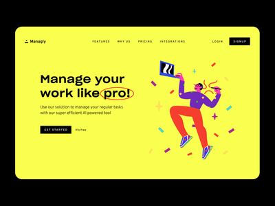 Landing Page illustration dropbox font sharp grotesk home page above the fold landing page managing app hero figma ui