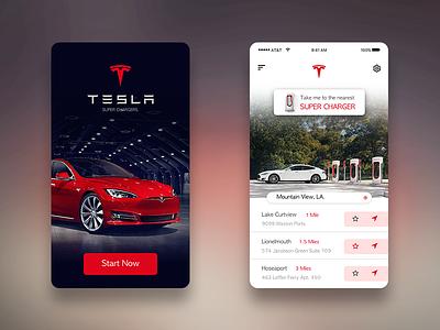 Tesla Super Chargers App ios super charges app ui tesla
