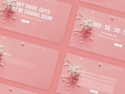 Coming soon design template website ui comingsoon pink