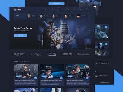 Website Design for eSports Team pubg dota2 dota matches leage of legends fortnite team gaming esports esport website web ux ui clean design