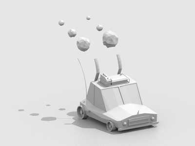 Boogie Car lowpoly color maxon3d daily render redshift3d clay car