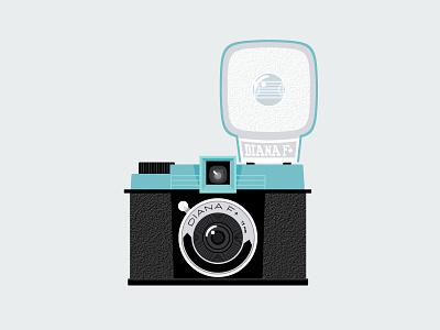 Lomography Diana F+ flat vector blue fun photography film illustration camera lomo