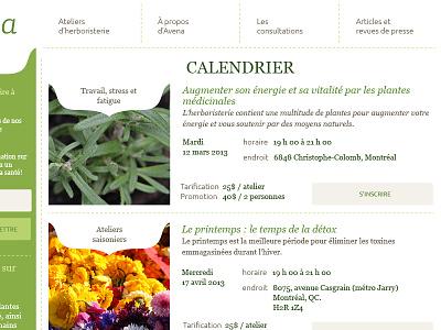 Calendar calendar class herbalism schedule green beige website