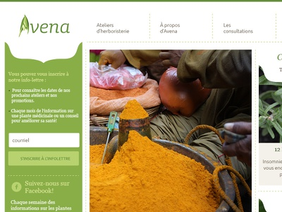 Final home page website flat avena green herbalism white