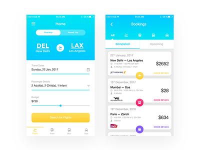 Travel Booking  ux simple clean modern minimal taxi bus flight booking ios