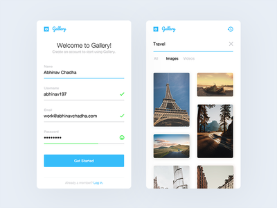 Gallery —   iOS minimal ios ux ui social sign up sign in search videos images