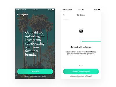 Brandgram — Home & Onboarding onboarding home cyan instagram minimal clean brandgram ios app