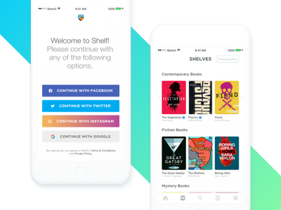 Shelf — Signup & Shelves book ui ux ios clean minimal white colorful mobile