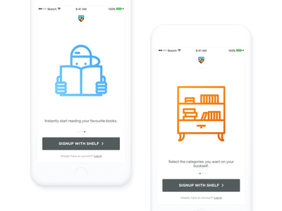Shelf — Onboarding (Part 1) welcome app sign in sign up android ios mobile onboarding