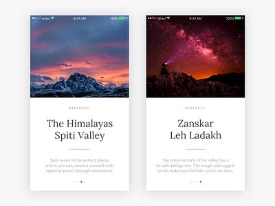 Travel Cards — iOS (Part 2) card cards ios ocean desert typography photography ui ux minimal