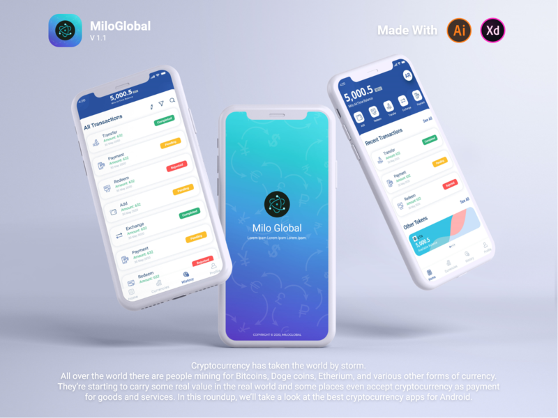 MiloGlobal || App money app bank app bank cash money cover ux ui transfer exchange cryptocurrencies