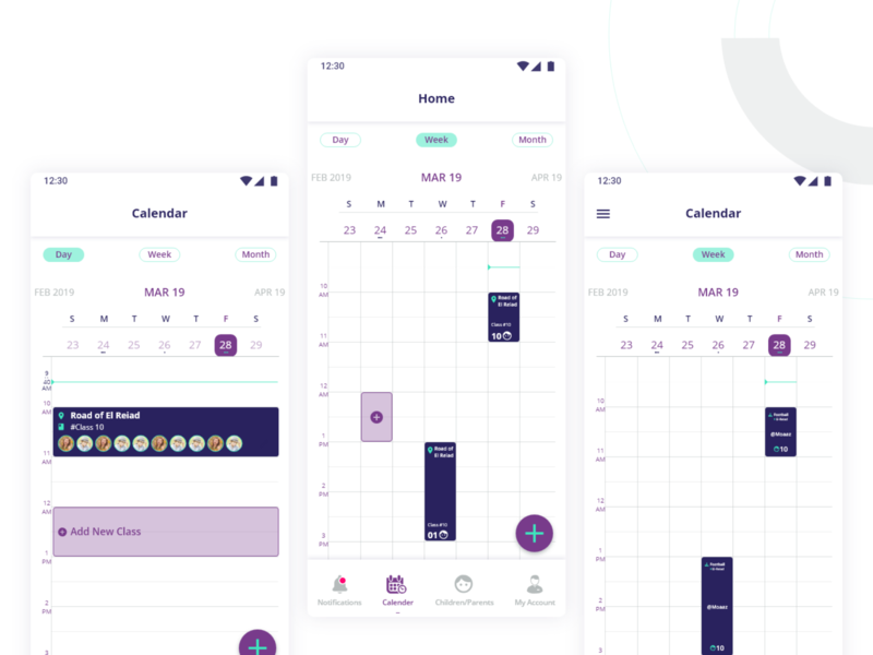 Calendar timeline timemanagment timetracking appdesign school scheduling adreeb trainer learning ux ui app