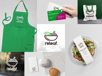 Mockup Design for Releaf salad packaging branding design graphic design