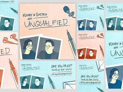 Unqualified Podcast Cover Design art podcast illustration design graphic design