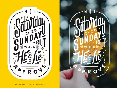Approve approve saturday sunday leaf lettering vector art typography design graphic design