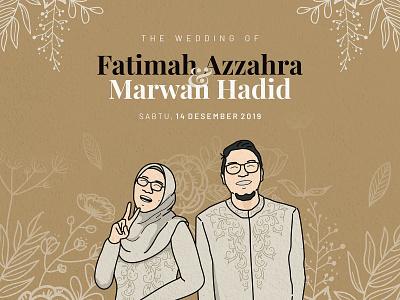 Wedding Invitation: Fatimah & Marwan invitation art wedding vector illustration design graphic design