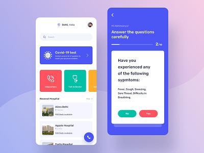 Corona Tracker App covid 19 corona medical doctor question quiz mobile ui tracker healthcare mobile app coronavirus
