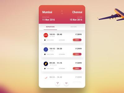 Flights travel aeroplane clean mobile ui boarding ticket booking flight