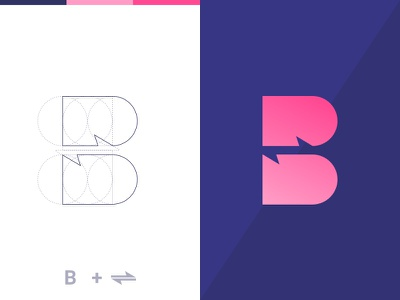 Logo conceptual arrow geometric barter exchange logo b