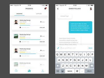 Progress and chat  poster seeker marketplace app mobile ux ui list chat details job progress