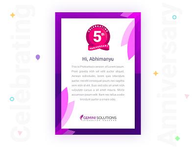 5th Anniversary e-mailer creative celebrate 5th colourful clean visual anniversary emailer