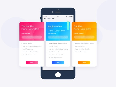 Lens Selection android sketch ios slider colourful design lens glasses mobile pricing plan clean ui