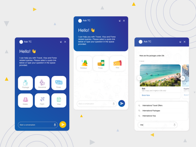 Thomas cook Chat Bot web mobile assistant bot travel business design ux ui creative chatbot creative ui ux