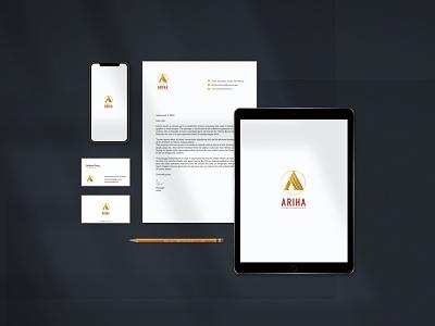 Ariha Stationery Design ui creative business logo mokeup stationery graphic design branding